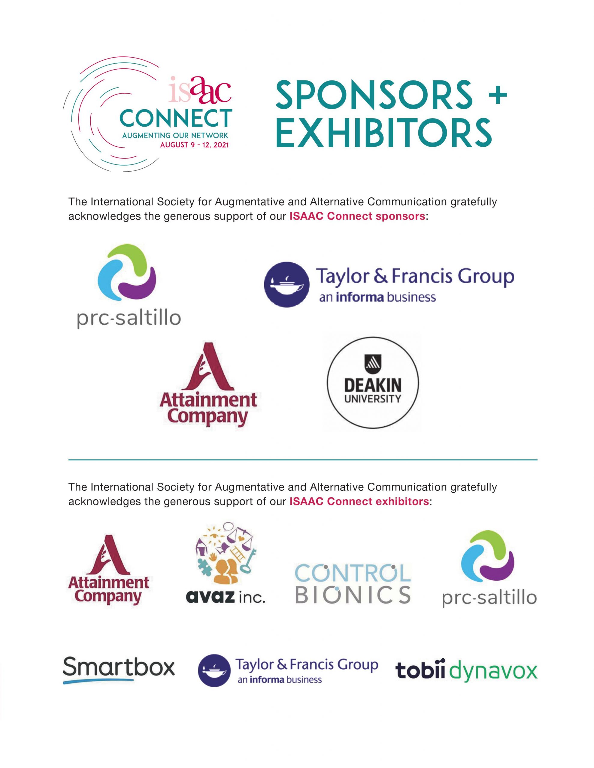 ISAAC Connect Sponsors and Exhibitors