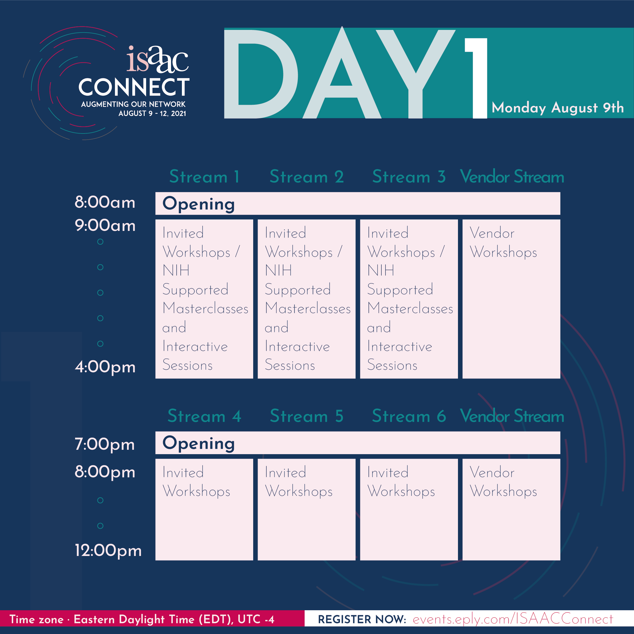 ISAAC Connect, Day 1, Schedule at a Glance
