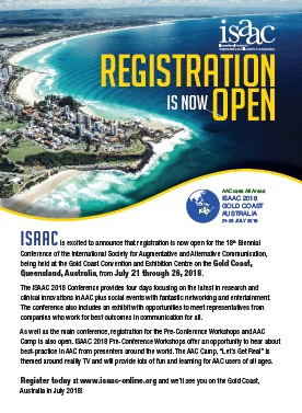 Registration is now open, ISAAC 2018, Australia